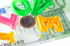 I love money - euro. The phrase I love money ove one hundred euro banknote - money concept shot Stock Photography
