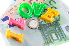 I love money - euro. The phrase I love money ove one hundred euro banknote - money concept shot Royalty Free Stock Photo