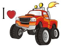 I love monster truck. Orange monster truck with a fire with red heart and letter i Stock Photo