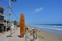 `I Love Montanita` sign in the Beach of Montañita, Ecuador, during the summer.