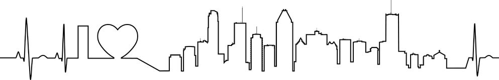 I love Montreal in an extraordinary ecg style. It shows an ecg line that shapes I love and the detailed skyline of Montreal Royalty Free Stock Image