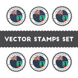 I Love Montserrat vector stamps set. Retro patriotic country flag badges. National flags vintage round signs Royalty Free Stock Photos