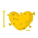 I love moon. Heart symbol from yellow planet with craters Stock Images