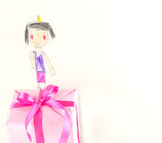 I love mother - Child drawing rith gift box Royalty Free Stock Photography