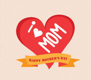 I love mother day. With heart and label Royalty Free Stock Photo