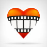 I love movies concept as fil strip on red heart icon design Royalty Free Stock Photos