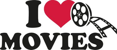 I love movies with film roll. Vector Royalty Free Stock Images