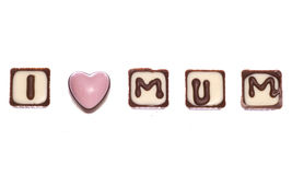 I love mum chocolates isolated Royalty Free Stock Photos