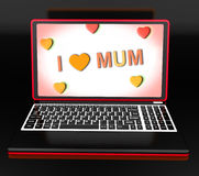 I Love Mum On Laptop Shows Mothers Day Greeting Royalty Free Stock Photo