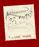 I love music. An illustration with music notes and text Royalty Free Stock Image