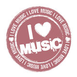 I love music. Pink i love music stamp isolated over white background. vector Stock Image