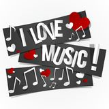 I Love Music Banners Stock Photography