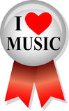 I Love Music Button/eps. Illustration of a button and ribbon with the message I Love Music Royalty Free Stock Photo