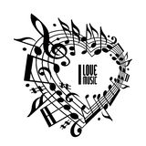 I love music concept, black and white design. Stock Photography