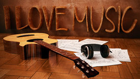 I Love Music. 3D Rendering Image of I Love Music with Acoustic Guitar Royalty Free Stock Photography