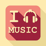 I love music flat retro vintage icon. With long shadow for game presentation, user interface tablet, smart phone Stock Photo