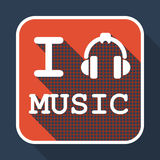 I love music flat retro vintage icon. With long shadow for game presentation, user interface tablet, smart phone Royalty Free Stock Photography