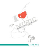 I Love Music. Graphic for wallpaper, decor, or your design stock Royalty Free Stock Photos