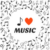 I love music. Hand drawn music background Royalty Free Stock Photos