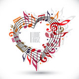 I love music, heart made with musical notes and clef. Stock Photos