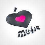 I love music. Heart shape disc i love music Royalty Free Stock Image