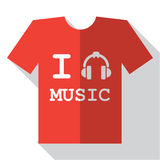 I love music icon. Flat retro vintage t-shirt icon. With long shadow. For game presentation, user interface tablet, smart phone Royalty Free Stock Photography