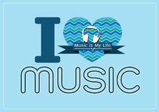 I love Music and Music is My Life word font type with signs idea Royalty Free Stock Photos