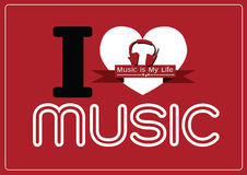 I love Music and Music is My Life word font type with signs idea Royalty Free Stock Images
