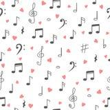 I love music. Music seamless pattern background. Hand drawn musi Stock Photography