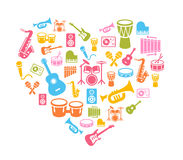 I Love Music - Musical Icons Background Stock Image