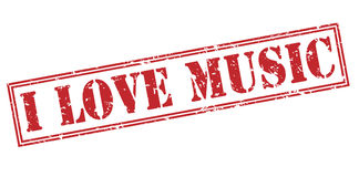 I love music red stamp Royalty Free Stock Images
