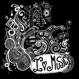 I Love Music Sketchy Notebook Doodles  and Swirls Hand-Drawn Royalty Free Stock Photo