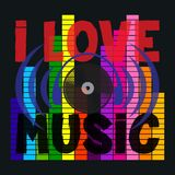 I love music typography, disco, t-shirt graphics stock illustration
