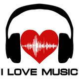 I love music, vinyl cover for a music fan. Poster with headphones heart with sound waves, vector for melomaniac audiophile royalty free illustration