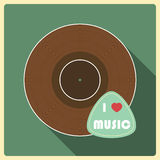 I love  music. Vinyl disc Royalty Free Stock Photo