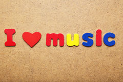 I love music. Words made of colorful magnets royalty free stock photography