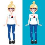 I Love Mustache Blonde Girl royalty free illustration