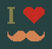 I Love Mustache Knitted Illustration Stock Images