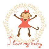 I love my baby card with cute monekey girl Stock Photography