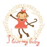I love my baby card with cute monekey girl Royalty Free Stock Image