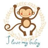 I love my baby card with cute monekey Stock Photos