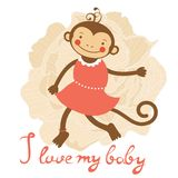 I love my baby card with cute monekey girl Royalty Free Stock Photos
