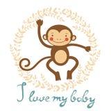 I love my baby card with cute monekey girl. Stock Photos