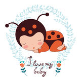 I love my baby card. Illustration of adorable baby Stock Image