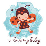 I love my baby card. Illustration of adorable baby Stock Photos