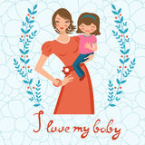 I love my baby. Concept card with beautiful young Royalty Free Stock Images