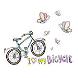 I love my bicycle concept design. Hand drawn Royalty Free Stock Image