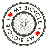 I Love My Bicycle emblem.  vector illustration