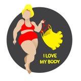 I love my body. Body positive, curvy girl in lingerie. Royalty Free Stock Image