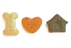 I love my bone. Three canine aliments which different forms on a white background Royalty Free Stock Photo